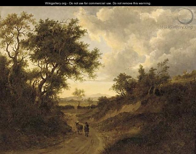 A drover on a wooded track in an extensive landscape - (after) Patrick Nasmyth