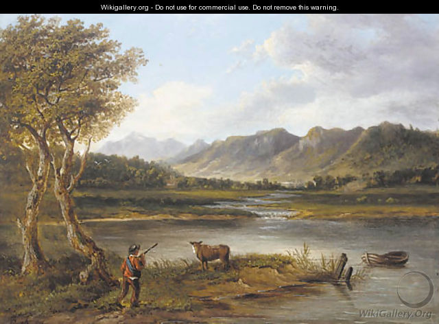 A drover and a cow in a mountainous river landscape - (after) Patrick Nasmyth