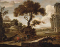 A Landscape with a Gentleman having his Fortune told - (after) Pieter Meulener