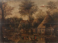 A wooded Landscape with Peasants in a Village - (after) Pieter Breughel II