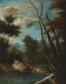 A wooded landscape with shepherds watering cattle and sheep at a pool - (after) Pieter Bout