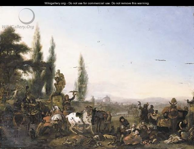 The repose of a hawking party by a walled garden, a landscape beyond - (after) Philips Wouwerman