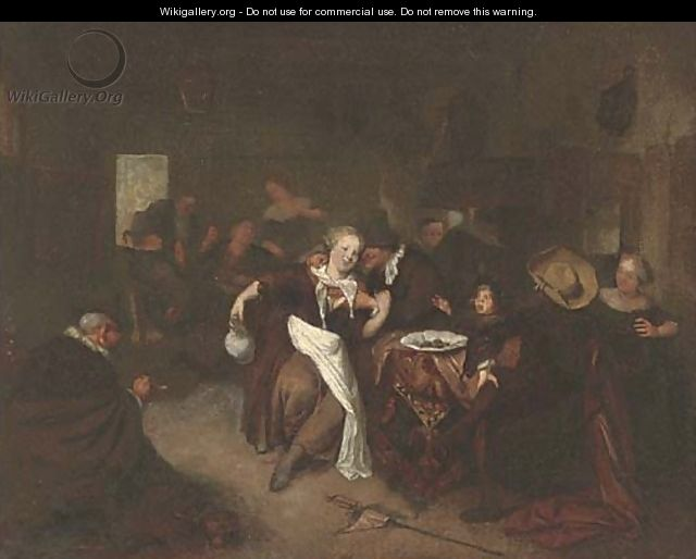 Peasants drinking and merry making in a tavern - (after) Richard Brakenburg