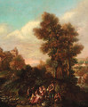 An Italianate landscape with shepherds making music by a river, a hilltop town beyond - (after) Pietro Domenico Oliviero