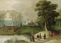 A wooded landscape with elegant company by a pond - (after) Joos Or Josse De, The Younger Momper