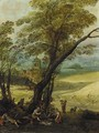 Summer An extensive landscape with harvesters resting beneath a tree - (after) Joos Or Josse De, The Younger Momper