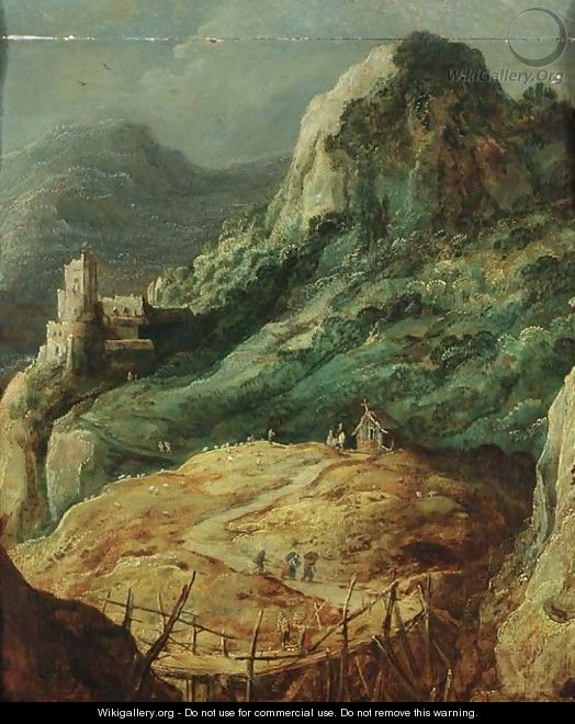 A mountainous landscape with travellers by a hut and a shepherd in a pasture - (after) Joos De Momper