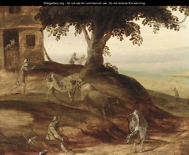 A landscape with a drover and his cattle, a barn and figures beyond - (after) Joos De Momper