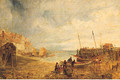 Fisherfolk Unloading The Catch In A Busy Harbour - (after) John Wright Oakes