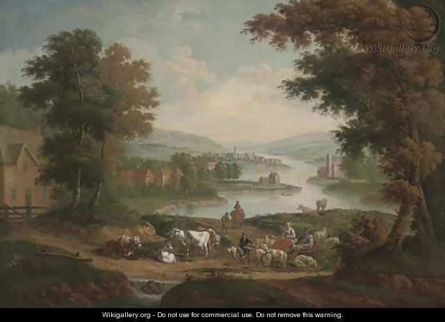 Peasants with sheep and cattle in an extensive river landscape - (after) John Wootton