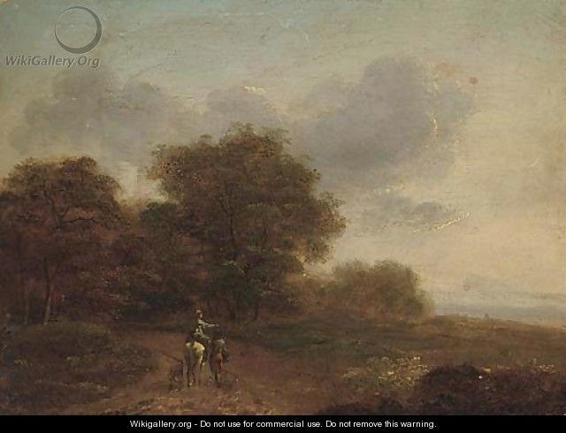 Travellers in an extensive landscape - (after) John Rathbone