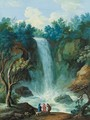 Figures and a dog standing before a waterfall - (after) John Laporte