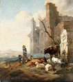 An Italian landscape with herdsmen - (after)Karel Dujardin