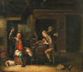 Peasants playing cards and smoking in a tavern - (after) Justus Juncker