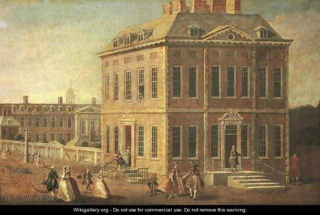 View of Ranelagh House and Gardens, and the Chelsea Hospital, with figures walking in the foreground - (after) Joseph Nickolls