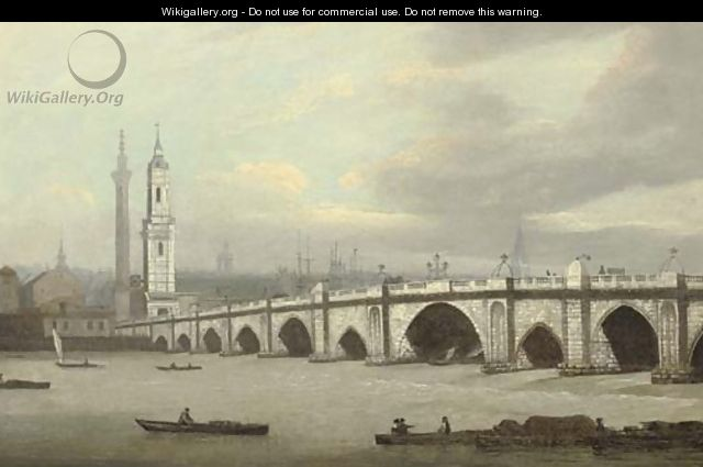 View of London Bridge, with the church of St. Magnus and the Monument beyond - (after) Farington, Joseph