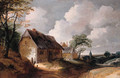 A road leading to a village, with poultry on a farmyard in the foreground - (after) Lodewijk De Vadder