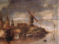 A fortified town on a river with fishermen in rowing boats unloading the catch near a landing stage - (after) Claes Molenaar (see Molenaer)