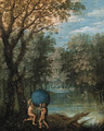 A wooded river landscape with Atlas passing the World to Hercules - (after) Marten Ryckaert