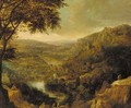 A Rhenish landscape with peasants on mountain tracks - (after) Jan Griffier I