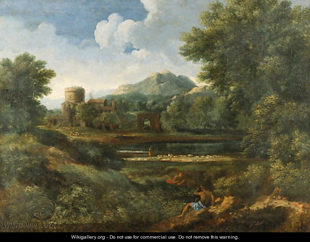An extensive Italianate landscape with shepherds by a river - (after) Jan Frans Van Orizzonte (see Bloemen)