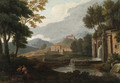 An Italianate Landscape with a Fountain and Philosophers resting in the foreground - (after) An Frans Van Orizzonte (see Bloemen)