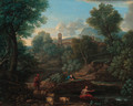 A landscape with a shepherd and sheep at a stream, a village beyond - (after) An Frans Van Orizzonte (see Bloemen)