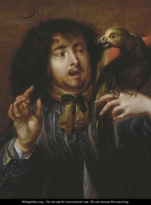 A man holding a parrot on his left hand - (after) Jan Cossiers