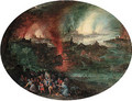 Aeneas rescuing Anchises from burning Troy - (after) Jan The Elder Brueghel