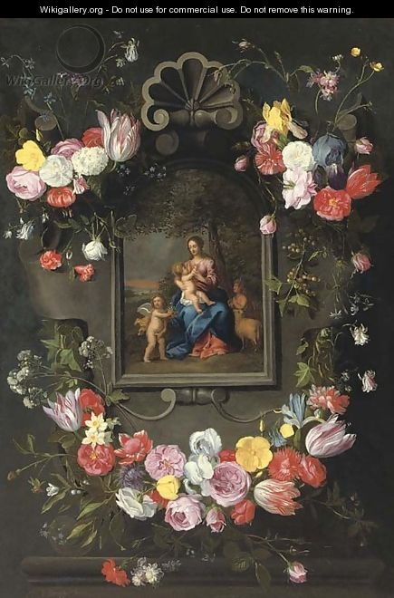 The Madonna and Child with Saint John the Baptist and an angel surrounded by a garland of mixed flowers - (after) Jan The Elder Brueghel