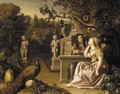 An ornamental garden with Vertumnus and Pomona - (after) Jan Blom