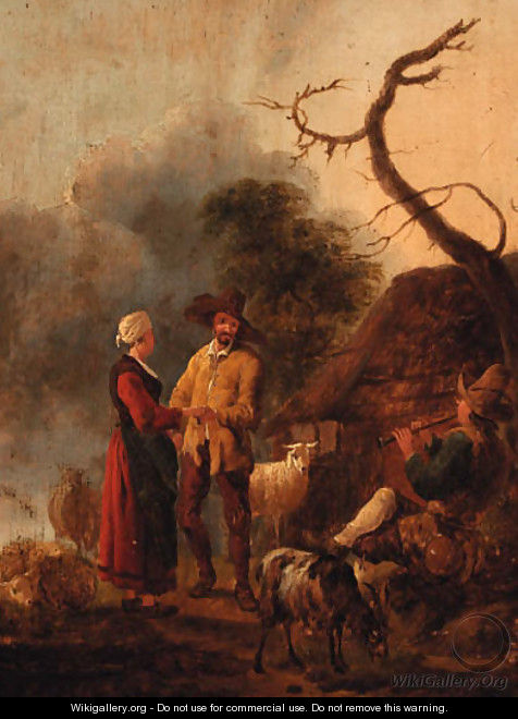 A couple dancing to a piper outside a cottage - (after) Jan Baptist Wolfert