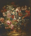 Roses, carnations, a parrot tulip and other mixed flowers in a vase - (after) Jean-Baptiste Morel