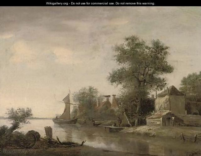 A landscape with houses by a river and figures in boats - (after) Jan Wils