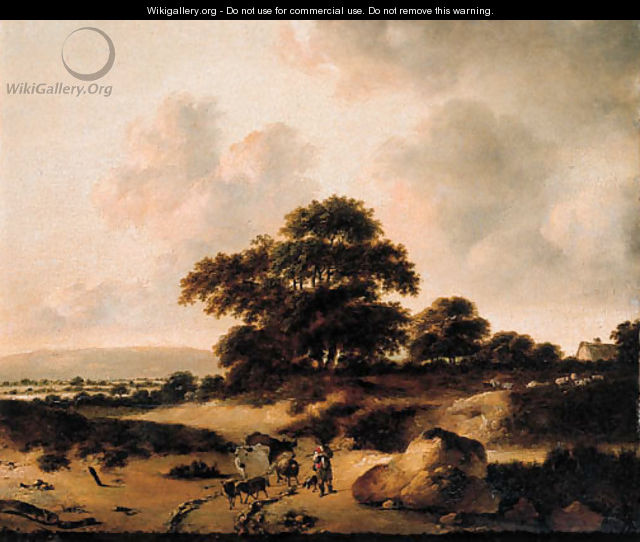 A cowherd leading cattle on a sandy track in the dunes - (after) Jan Wijnants