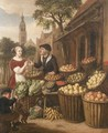 An elegant woman by a fruit and vegetable stall in a town square - (after) Jan Victors