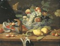 Grapes, plums and other fruit in a bowl, lemons and other fruit on a ledge with a monkey, a dog below - (after) Jan Van, The Younger Kessel