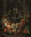 A roemer in a niche surrounded by a garland of grapes, apples, strawberries and other fruit - (after) Jan Pauwel The Elder Gillemans