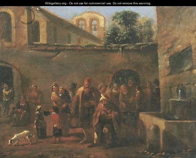 The courtyard of a monastery with monks feeding the poor by a fountain - (after) Jan Miel