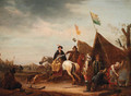 A military encampment with a lady on horseback before a tent - (after) Jacob Martsen De Jonge