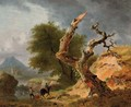 A mountainous landscape with figures by a stream near a dead tree - (after) Jean Louis Demarne, Called Demarnette