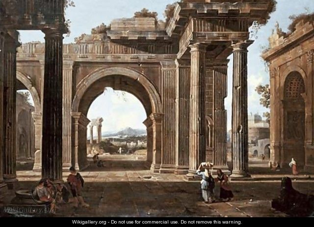 A capriccio of classical ruins with the Arch of Titus, the Temple of Vespasian - (after) Jean Lemaire