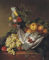 Poultry, fruit and flowers on a ledge - (after) Johannes Reekers
