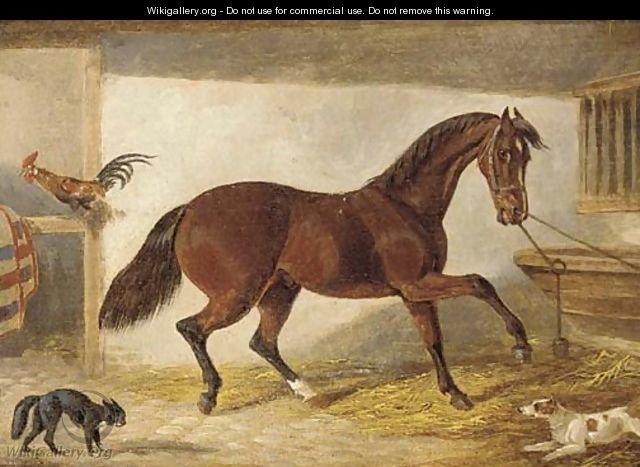 A hunter in a stable - (after) H. S. Cotterill