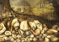The Maritime Realm a still life of shells on a shore, the Triumph of Neptune beyond - (after) Hieronymus II Francken