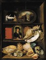 A still life of shells, paintings and books on recessed shelves - (after) Hieronymus II Francken