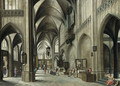 The interior of a Gothic church with a friar preaching from a pulpit - (after) Hendrick Van Steenwijck II