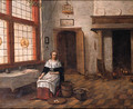 A maid seated by a table in a kitchen - (after) Hendrick Van Der Burgh