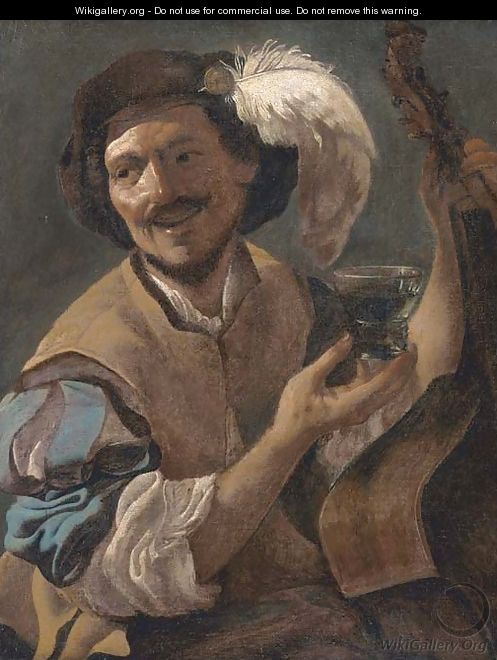 A laughing bravo with a bass viol and a roemer - (after) Hendrick Terbrugghen