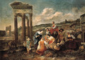 An Italianate market by a ruined temple - (after) Hendrick Mommers